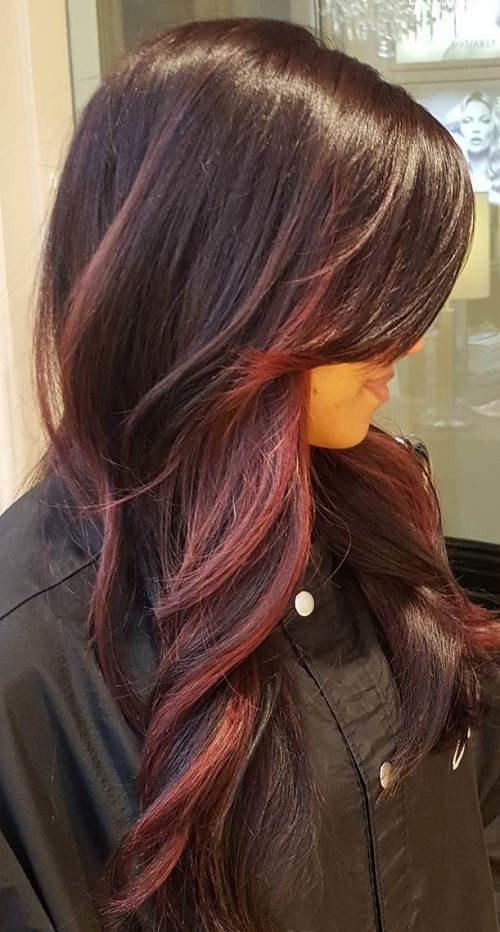 вишневый балаяж на темные волосы