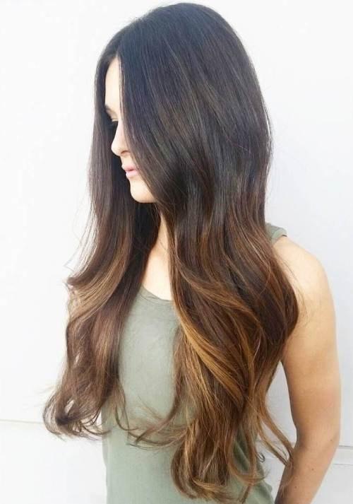 красивый карамельный балаяж на темные волосы