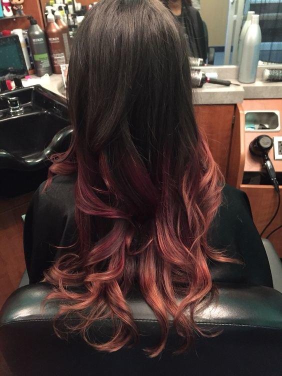 красный балаяж на темные волосы фото