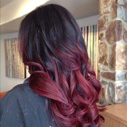 красный балаяж на темные волосы