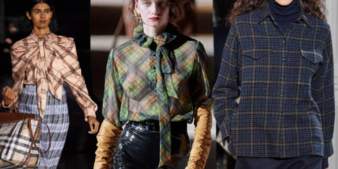 клетчатые дизайнерские блузки и женские рубашки 2021 года - фото из брендовых европейских коллекций
