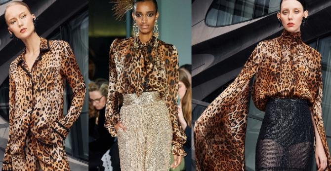 высокая мода 2021 - блузки с леопардовым принтом с модных европейских показов - фото