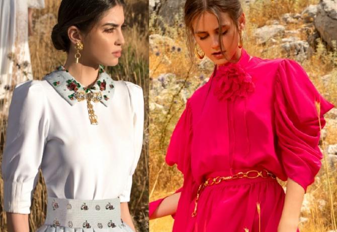фото самых модных женских нарядных блузок 2021 года - модель белого и красного цвета