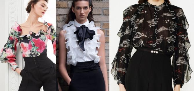 брендовые блузки 2021 года в романтическом стиле с воланами вдоль выреза, на груди и на рукавах - подиум в столицах мировой моды