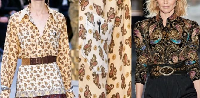 блузки 2021 года с принтом пейсли (мелкие и крупные огурцы)