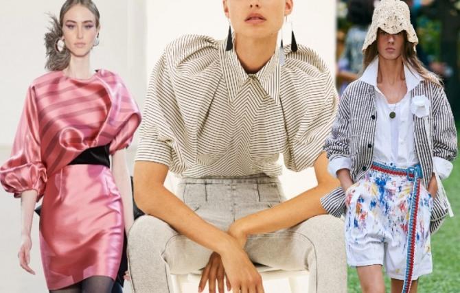 блузки 2021 года с полосатым принтом с модных показов