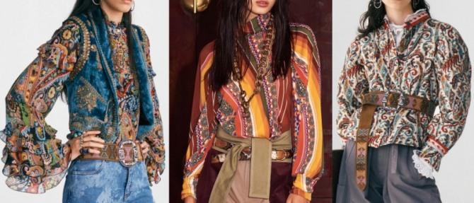 блузки с яркими узорами и этническим орнаментом - луки с модных показов на 2021 год