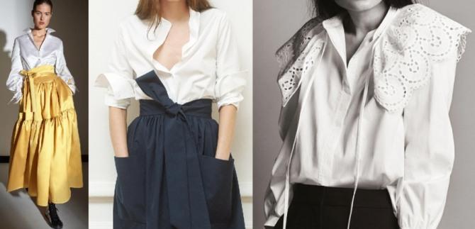 модные тенденции на 2021 года - нарядные блузки белого цвета с пышной юбкой