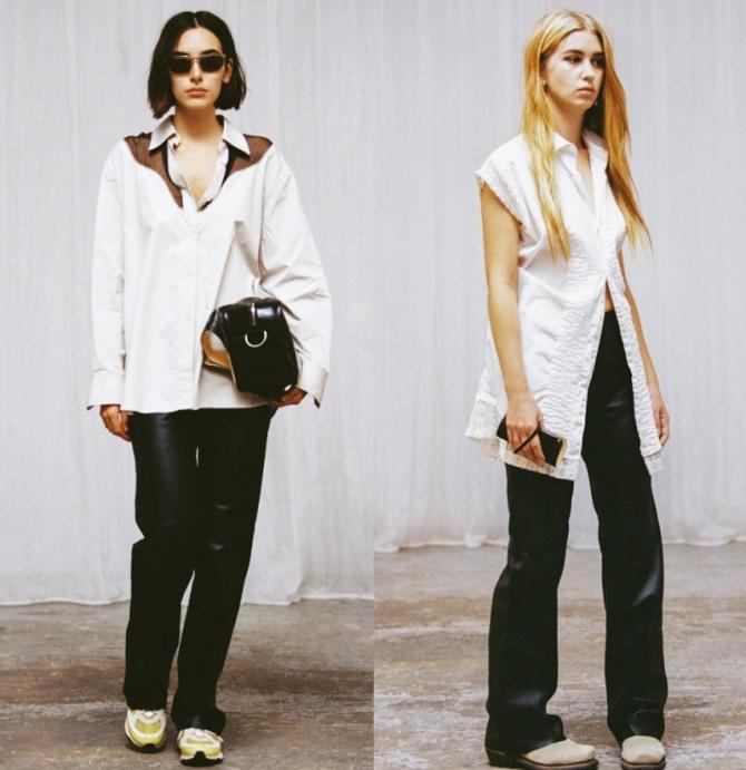 уличная повседневная мода 2021 года - блузы белого цвета навупуск в ансамбле с черными джинсами