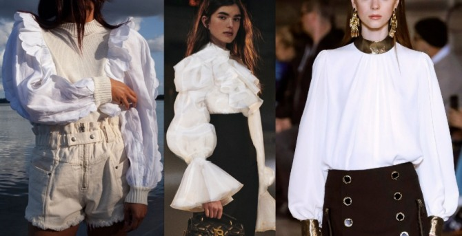 стиль и мода 2021 года - блузки белого цвета - дорогие и нарядные