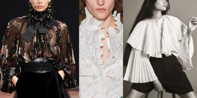 женский стиль 2021 года - блузки на выход из плиссированной и гофрированной ткани или с плиссированным воротником