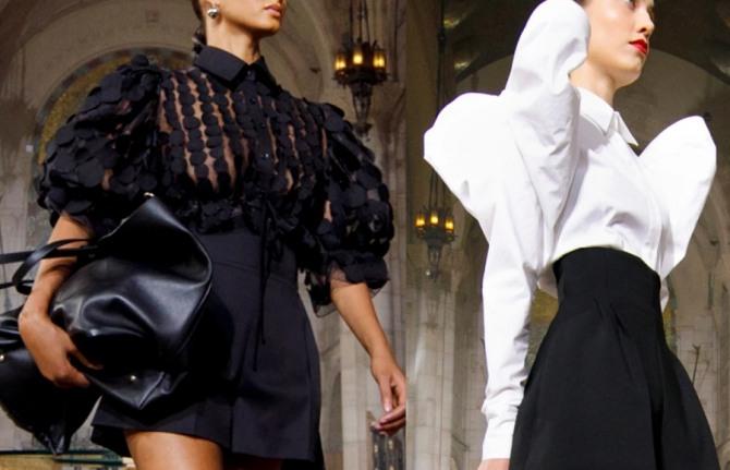 вечерние стильные и роскошные женские ансамбли шорты плюс блузка - в черно-белой цветовой гамме, фото из коллекции carolina herrera на 2021 год
