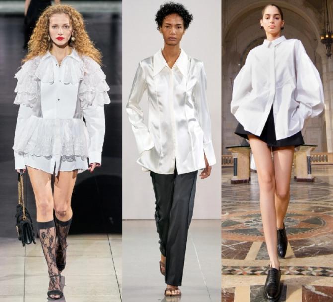 стильные блузы свободного кроя навыпуск белого цвета - модный тренд 2021 года, модель с отделкой кружевом и две модели блуз офисного минималистического стиля