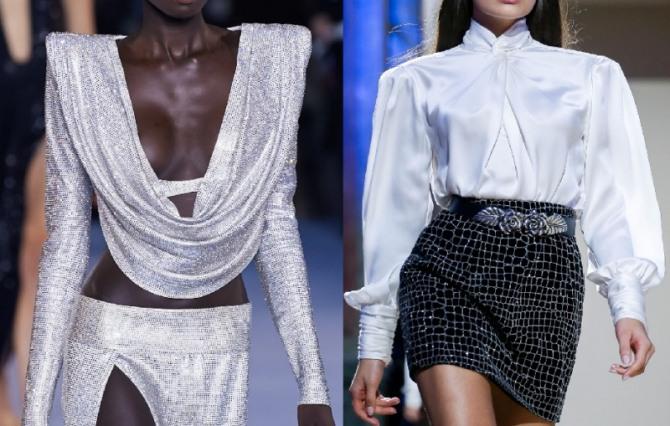 модные вечерние образы с блузками, имеющими драпировку - тренды в нарядной женской одежде 2021 года