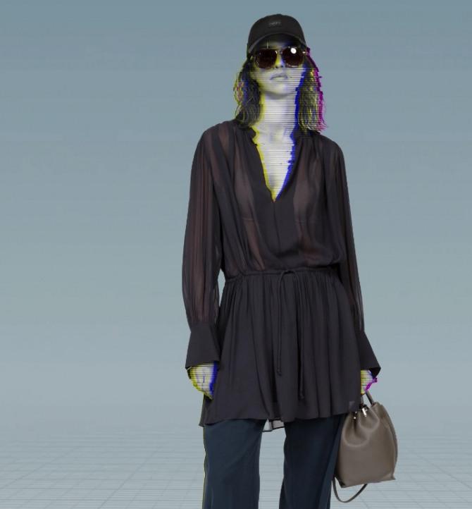 шифоновая блуза-платье коричневого цвета с кулиской ниже талии