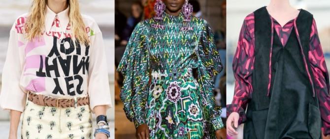 самые модные принты 2021 года - буквы и надписи на блузках