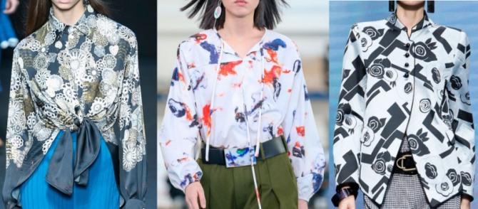 стильные яркие блузки из дизайнерских коллекций 2021 года с абстрактным рисунком ткани