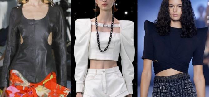 стильный вечерний образ 2021 года с блузками, имеющими вырезы и прорези на груди и талии