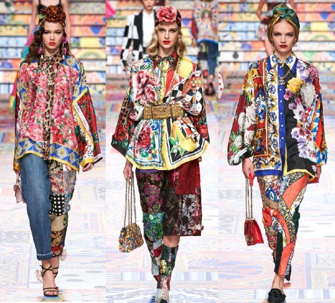модные шелковые женские блузы навыпуск от бренда Долче Габбана - коллекция 2021 года