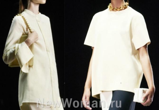 свободные блузы навыпуск минималистического фасона кремового цвета
