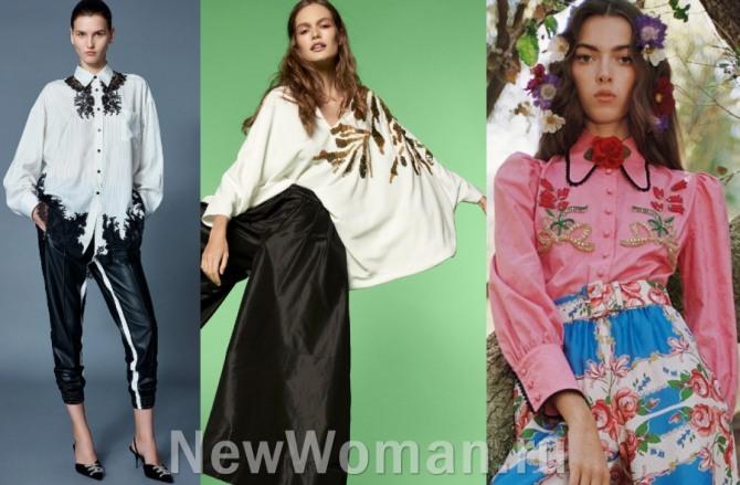 модели красивых нарядных блузок 2021 года с вышивкой - фото из дизайнерских коллекций 2021 года