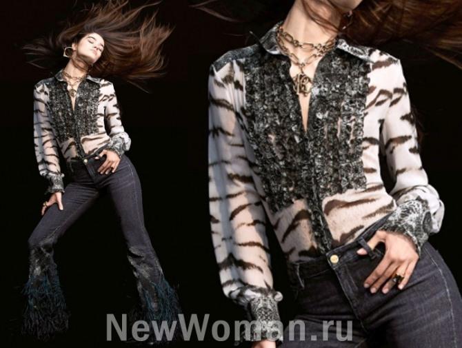 блузки 2021 года с принтом зебра