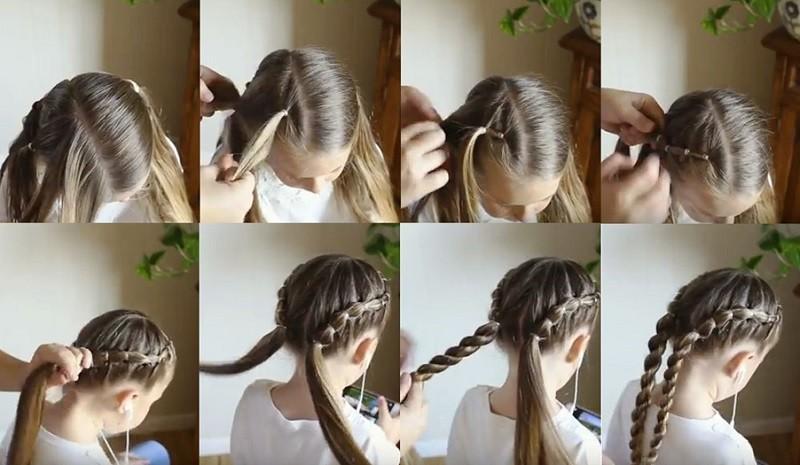 Полосатые кручёные косички, фото выполнения пошагово
