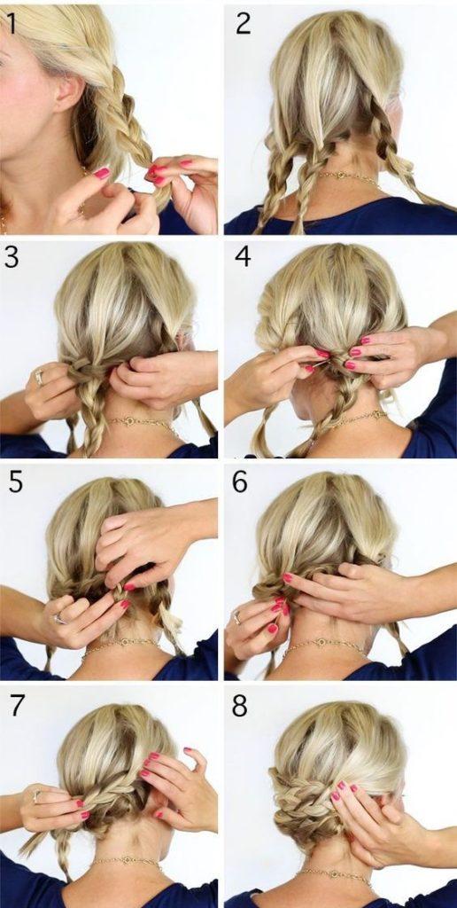 причёски с косами на короткие волосы своими руками