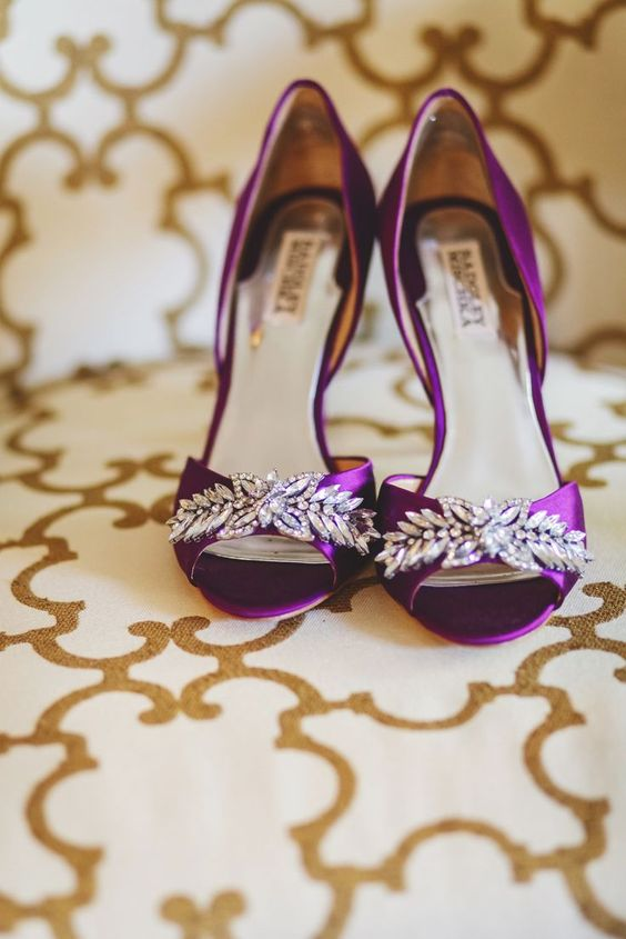 фиолетовые свадебные туфли