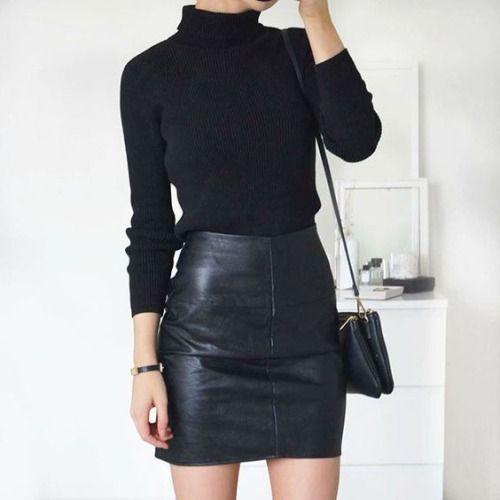 с чем носить кожаную юбку-мини