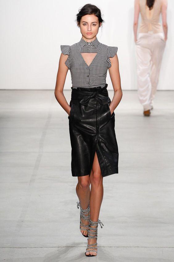 Модные кожаные юбки 2017