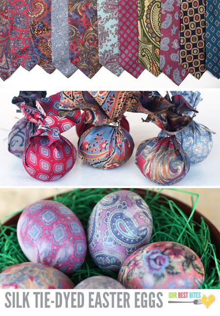 покраска яиц шёлковой тканью