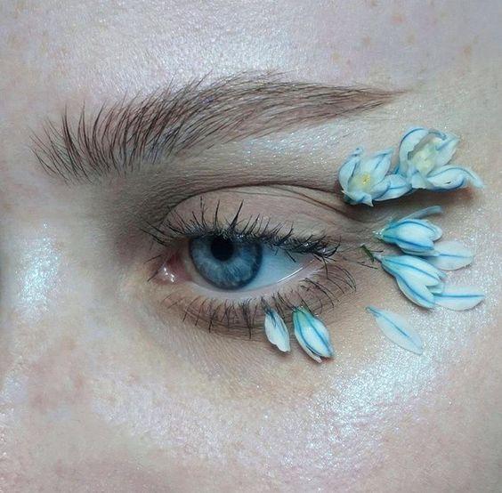 flower makeup макияж с живыми цветами, цветочный мейкап