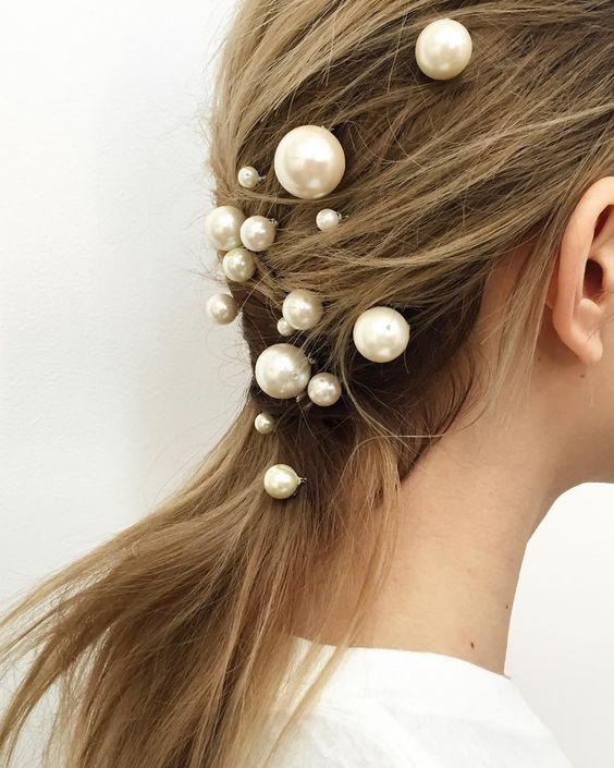 модные аксессуары для волос с жемчугом