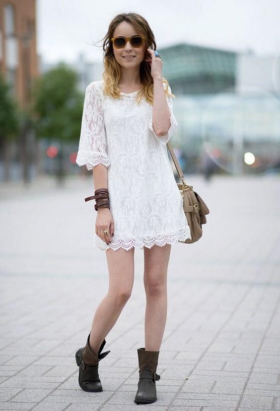 платье с ботинками на шнуровке