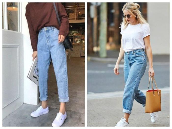 джинсы бананы женские с чем носить