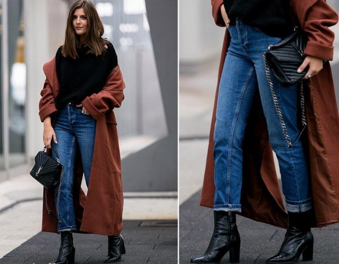 пальто с джинсами