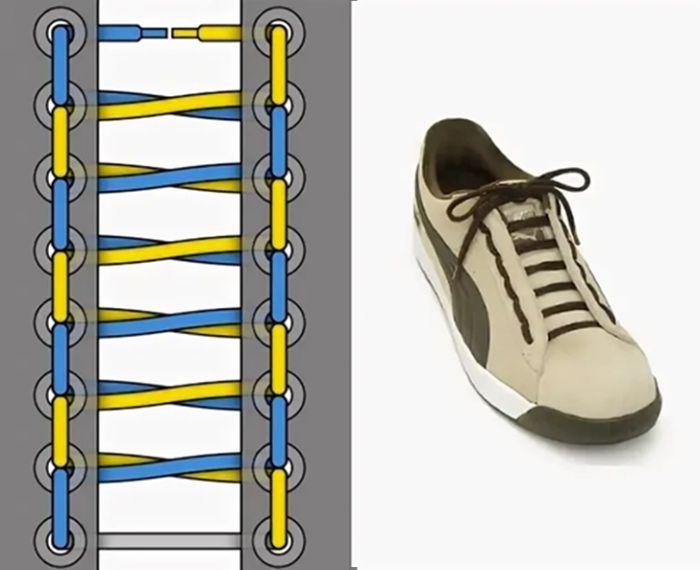красивая шнуровка кроссовок с 6 дырками