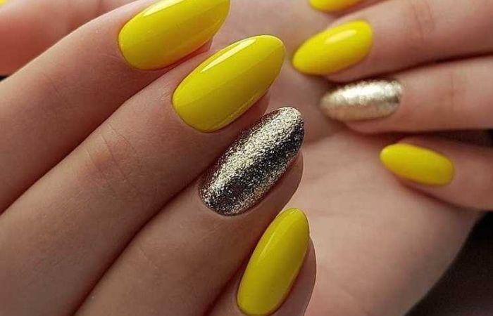 дизайн ногтей желтый
