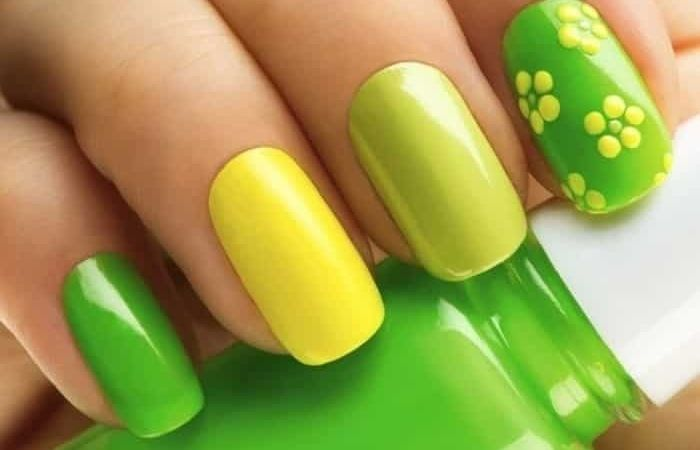 маникюр желто зеленый