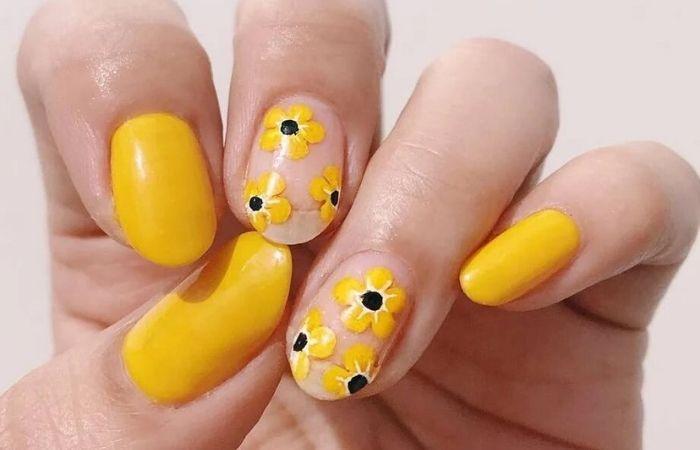 дизайн ногтей с желтым цветом