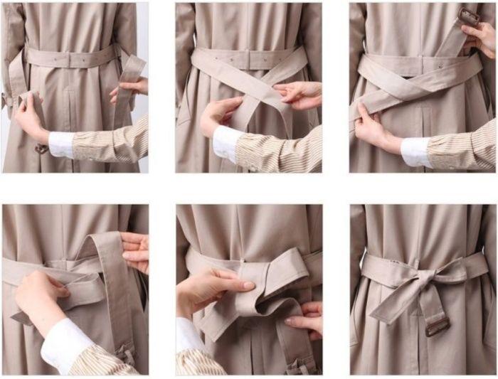 как завязать ремень на пальто сзади