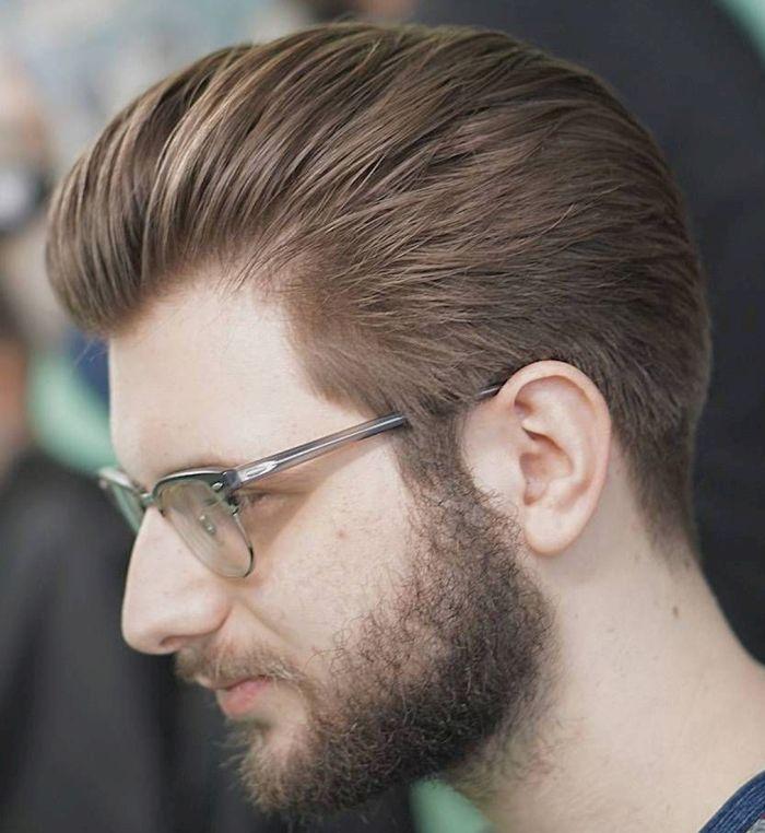 мужская прическа волосы назад