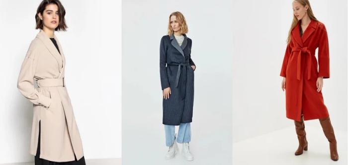 Пальто с узким поясом в цвет